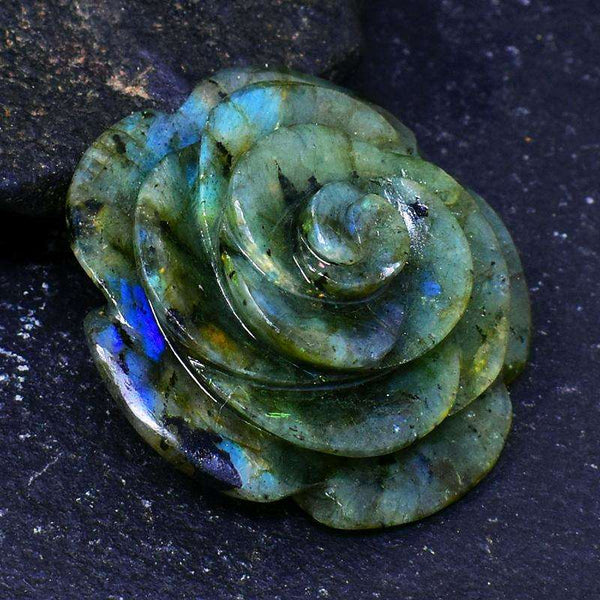 gemsmore:Amazing Blue Flash Labradorite Hand Carved Rose