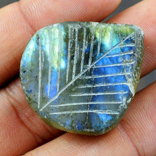 gemsmore:Amazing blue Flash Labradorite Pear Shape Carved Loose Gemstone