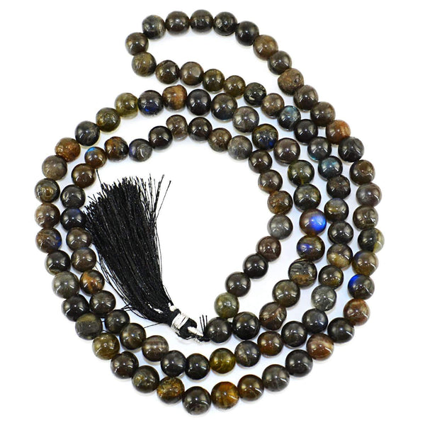 gemsmore:Amazing Blue Flash Labradorite Prayer Mala Natural 108 Round Beads