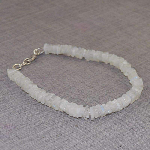 gemsmore:Amazing Blue Flash Moonstone Beads Bracelet - Natural Untreated