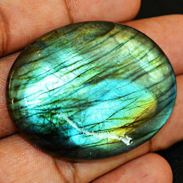 gemsmore:Amazing Blue Flash Oval Shape Labradorite Untreated Loose Gemstone