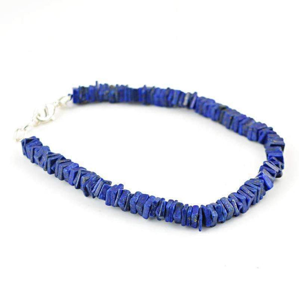 gemsmore:Amazing Blue Lapis Lazuli Beads Bracelet - Natural Untreated Beads