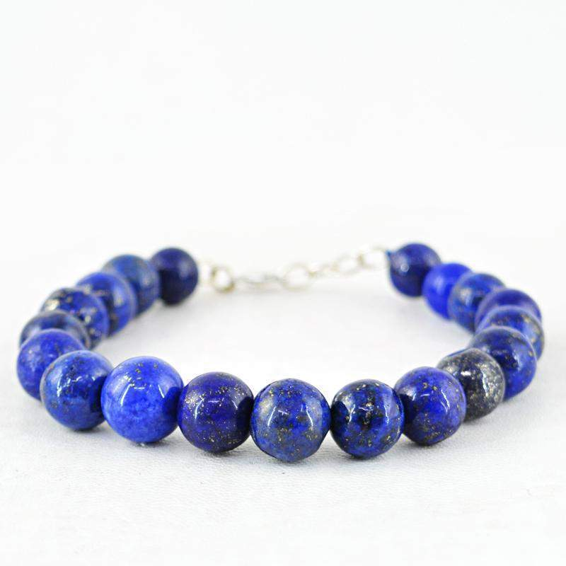 gemsmore:Amazing Blue Lapis Lazuli Bracelet Natural Round Shape Beads