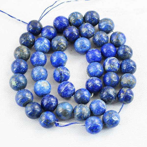 gemsmore:Amazing Blue Lapis Lazuli Round Shape Drilled Beads Strand