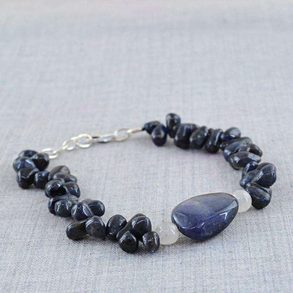 gemsmore:Amazing Blue Tanzanite Bracelet Natural Untreated Beads
