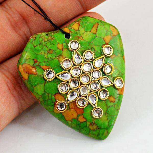 gemsmore:Amazing Enamel Work Jasper Untreated Drilled Gemstone