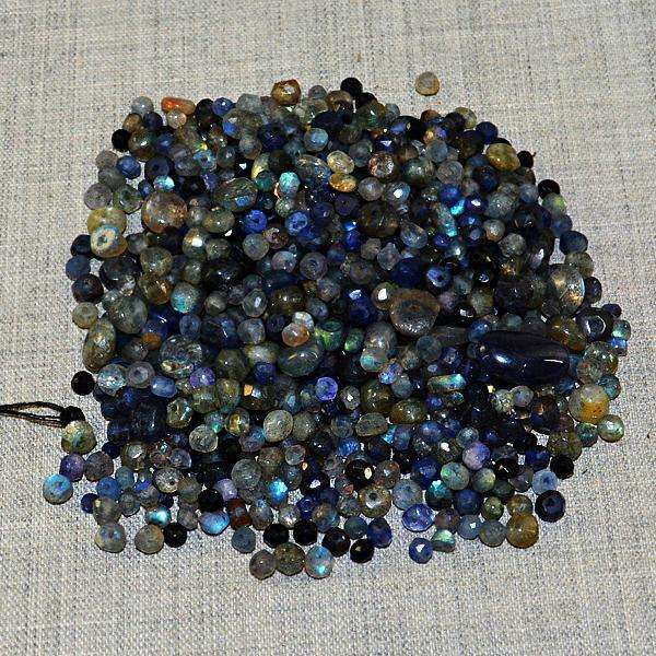 gemsmore:Amazing Faceted Blue Flash Labradorite Drilled Beads Lot