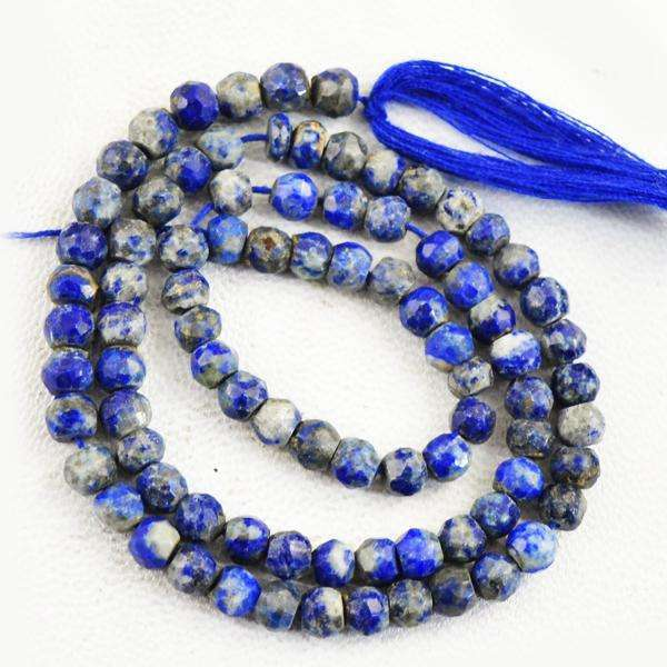 gemsmore:Amazing Faceted Blue Lapis Lazuli Round Shape Drilled Beads Strand