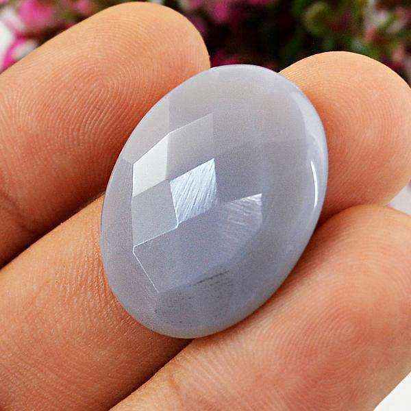 gemsmore:Amazing Faceted Chalcedony Oval Shape Untreated Loose gemstone