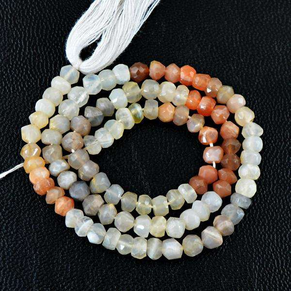 gemsmore:Amazing Faceted Multicolor Moonstone Drilled Beads Strand