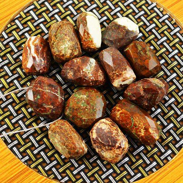 gemsmore:Amazing Faceted Picasso Jasper Drilled Beads Lot