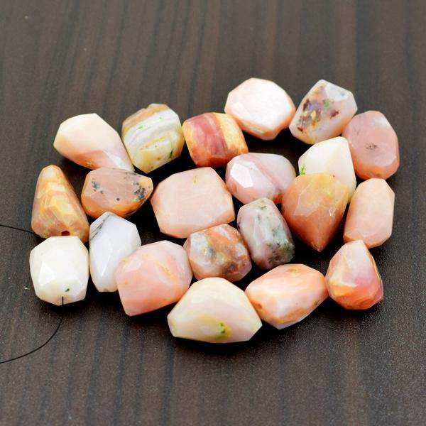 gemsmore:Amazing Faceted Pink Australian Opal Drilled Beads Lot