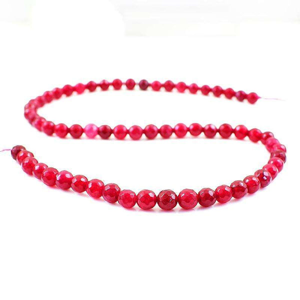 gemsmore:Amazing Faceted Red Onyx Round Shape Drilled Beads Strand