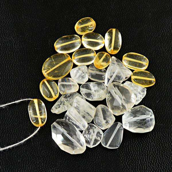gemsmore:Amazing Faceted White Quartz & Yellow Citrine Drilled Beads Lot