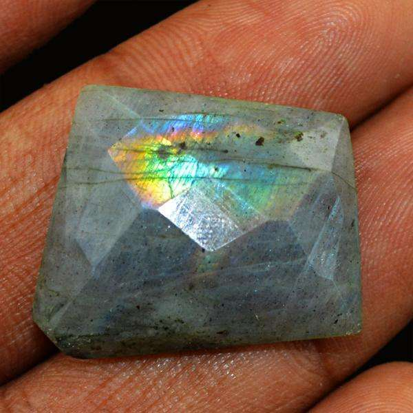 gemsmore:Amazing Flash Labradorite Faceted Untreated Loose Gemstone