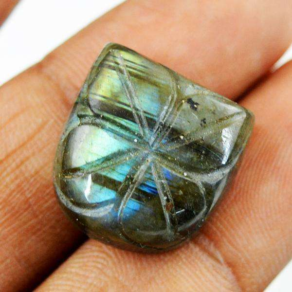 gemsmore:Amazing Flash Labradorite Flower Carved Untreated Loose Gemstone