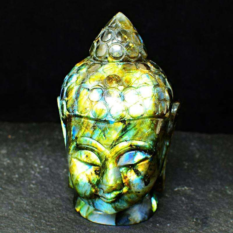 gemsmore:Amazing Flash Labradorite Hand Carved Lord Buddha Head