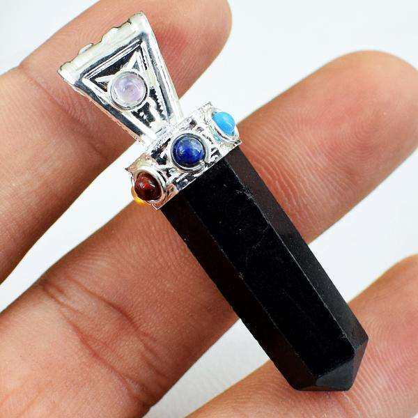 gemsmore:Amazing Genuine Black Spinel Seven Chakra Healing Point Pendant