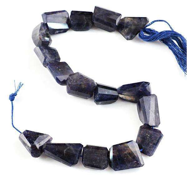 gemsmore:Amazing Genuine Blue Iolite Faceted Drilled Beads Strand