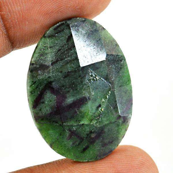 gemsmore:Amazing Genuine Faceted Ruby Zoisite Oval Shape Loose Gemstone