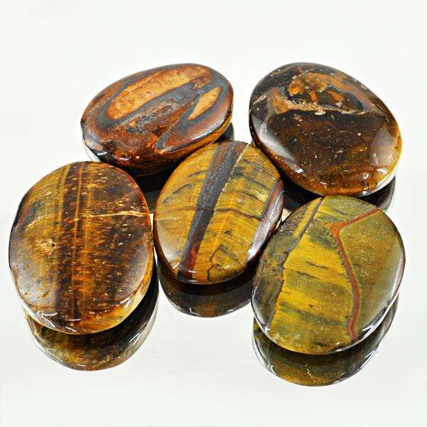 gemsmore:Amazing Genuine Golden Tiger Eye Oval Shape Loose Gemstone Lot