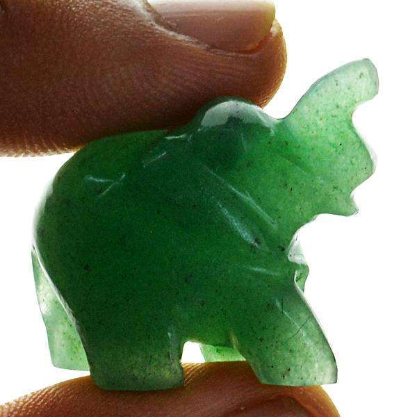 gemsmore:Amazing Genuine Green Aventurine Hand Carved Elephant