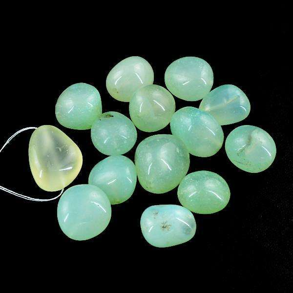 gemsmore:Amazing Genuine Green Chalcedony Drilled Beads Lot
