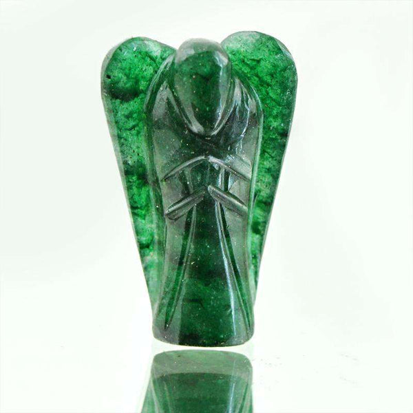 gemsmore:Amazing Genuine Green Jade Carved Healing Angel Gemstone