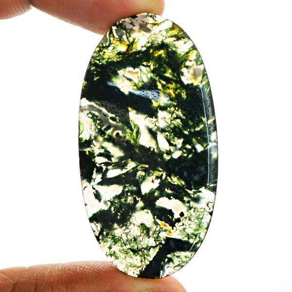 gemsmore:Amazing Genuine Oval Shape Green Moss Agate Untreated Loose Gemstone