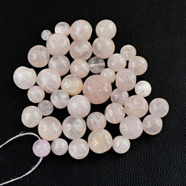 gemsmore:Amazing Genuine Round Shape Pink Rose Quartz Drilled Beads Lot