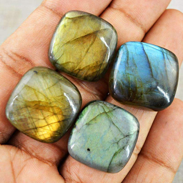 gemsmore:Amazing Golden & Blue Flash Labradorite Gemstone Lot Natural Untreated