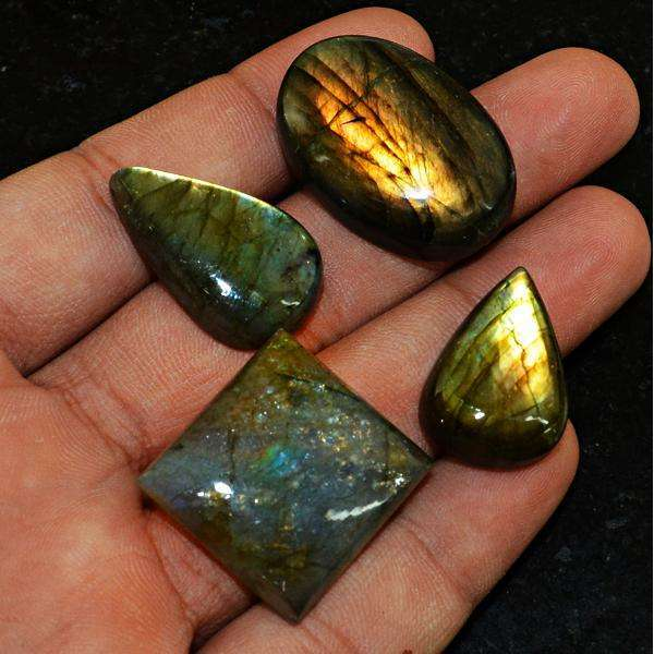 gemsmore:Amazing Golden & Blue Flash Labradorite Untreated Gemstone Lot