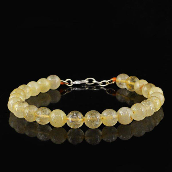 gemsmore:Amazing Golden Rutile Quartz Bracelet Natural Round Shape Beads