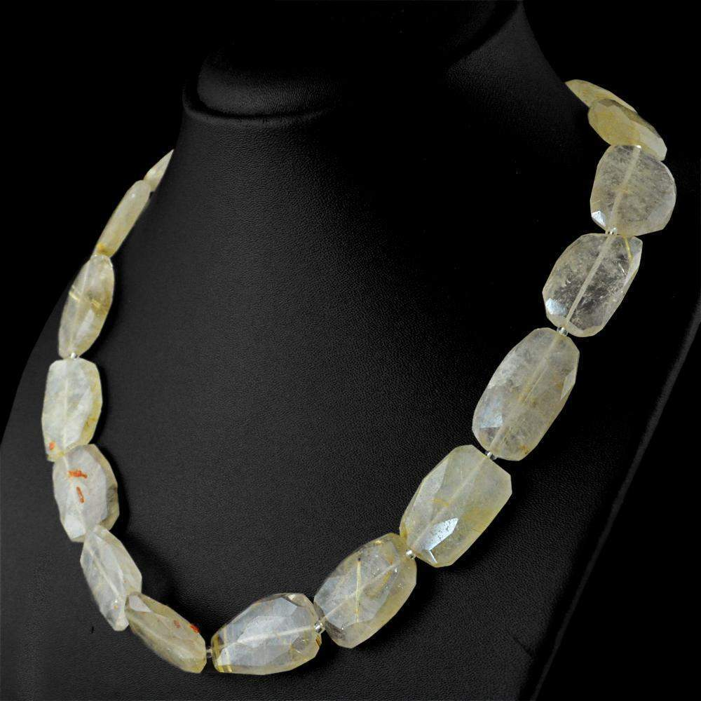 gemsmore:Amazing Golden Rutile Quartz Necklace Natural Faceted Beads