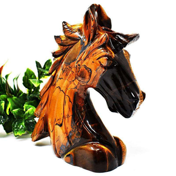 gemsmore:Amazing Golden Tiger Eye Hand Carved Horse Head
