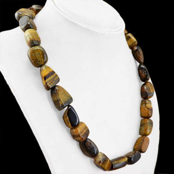 gemsmore:Amazing Golden Tiger Eye Necklace Natural Huge Beads
