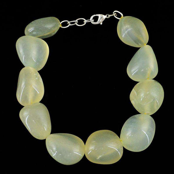 gemsmore:Amazing Green Chalcedony Beads Bracelet Natural Untreated