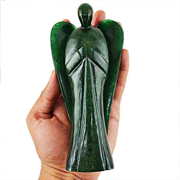 gemsmore:Amazing Huge Massive Size Green Jade Carved healing Crystal Angel