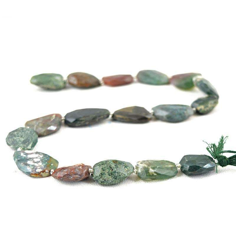 gemsmore:Amazing Moss Agate Beads Strand - Natural Faceted Drilled