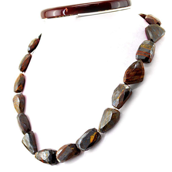 gemsmore:Amazing Multicolor Tiger Eye Necklace Natural Faceted Beads