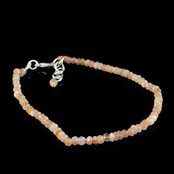 gemsmore:Amazing Natural Agate Bracelet Round Shape Faceted Beads