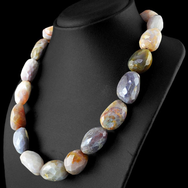 gemsmore:Amazing Natural Agate Necklace Faceted Beads
