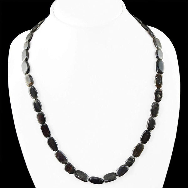 gemsmore:Amazing Natural Black Jasper Necklace Single Strand Oval Shape Beads