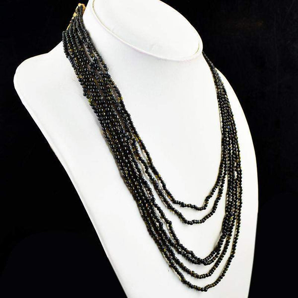 gemsmore:Amazing Natural Black Obsidian Necklace 6 Strand Round Shape Beads