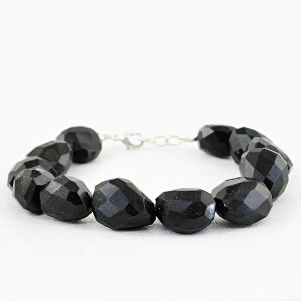 gemsmore:Amazing Natural Black Spinel Bracelet Faceted Beads