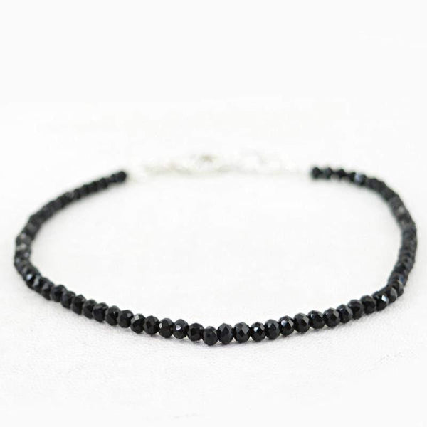 gemsmore:Amazing Natural Black Spinel Bracelet Round Faceted Beads