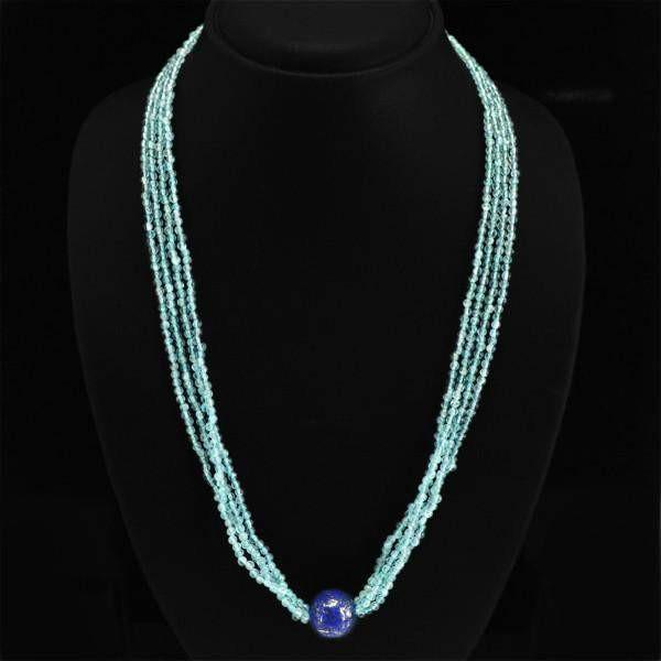 gemsmore:Amazing Natural Blue Apatite Necklace Unheated Round Beads