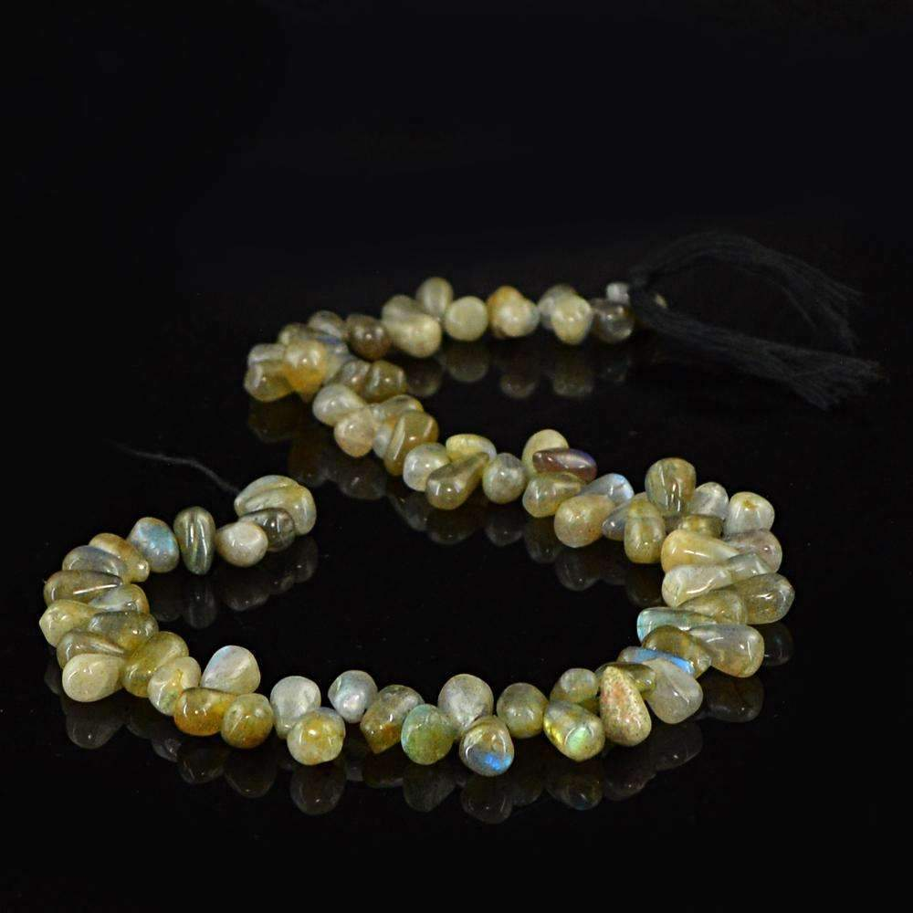 gemsmore:Amazing Natural Blue Flash Labradorite Drilled Beads Strand