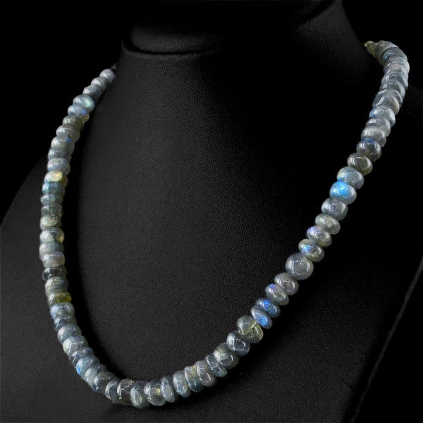 gemsmore:Amazing Natural Blue Flash Labradorite Necklace Round Shape Untreated Beads