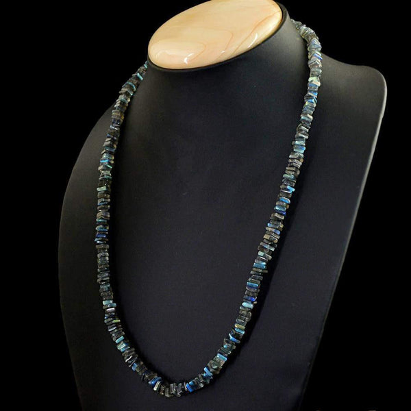 gemsmore:Amazing Natural Blue Flash Labradorite Necklace Untreated Beads